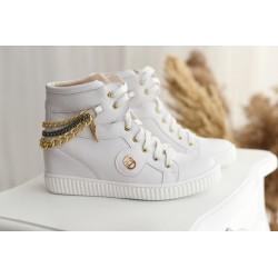 Białe sneakersy z łańcuszkami Madera